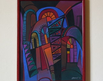 GLOW - Original painting from the cycle ARCHES, architectural painting