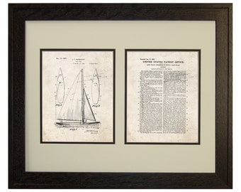 Framed Patent Art - Sailboat WITH Real Rustic Wood Frame - Framed Patent Print