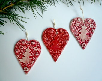 Ceramic-ceramic-red hearts hearts hearts decoration for Christmas tree-Christmas decoration