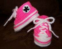 Crocheted Newborn Converse Tennis Shoes