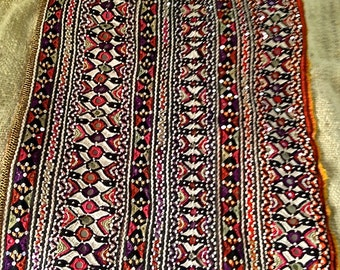 Sindhi Pakistan vintage wedding dress panel, with embroidery, tiny mirrors and sequins, silk