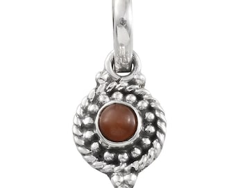 Sri Lankan Peach Moonstone Round Charm or Pendant without Chain in Sterling Silver Nickel Free TGW 0.50 Cts.