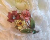 Vintage Austrian Rose Pin/Brooch 50s Enamel Rhinestone Floral Pink Yellow Red Goldtone Romantic Floral  Vintage Wedding Bouquet  Botanical