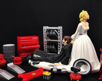 Funny Wedding Cake Topper for Mechanics - Perfect for Groom's Cake - Humorous Cake Topper Comes with Miniature Garage Accessories