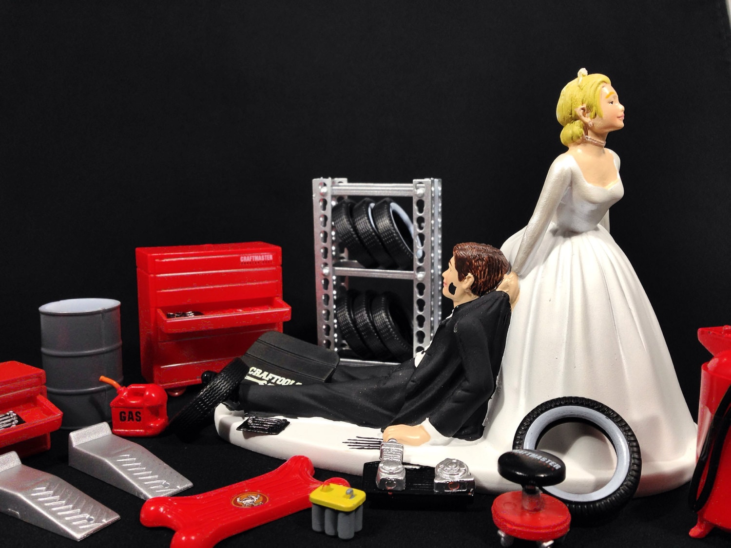 Funny Wedding Cake Topper for Mechanics Perfect for