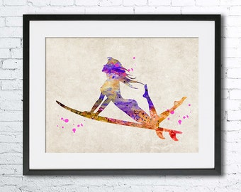 Surfer girl watercolor print, Old paper watercolor, Surf art, vintage home decor, wall art, Old paper watercolor,surf watercolor
