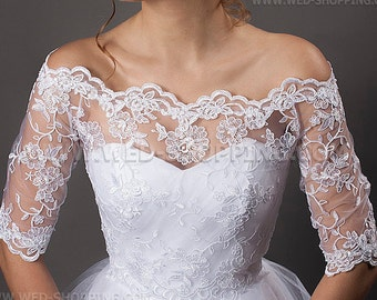 Off-Shoulder Wedding Lace Bolero Jacket 1/2 sleeves embroidery off-the-shoulder bolero wedding lace E1403B back fastening - tied backwards