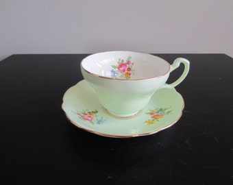 Foley Cup and Saucer - Green and Flowers - 2968