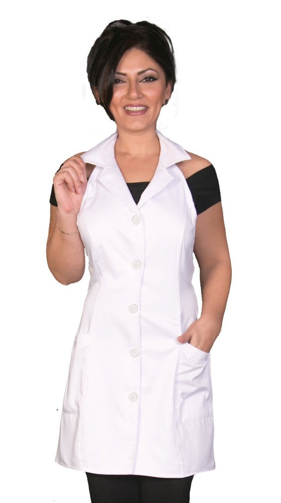 Esthetician jacket apron white fashion apron fitted apron for Spa vest uniform