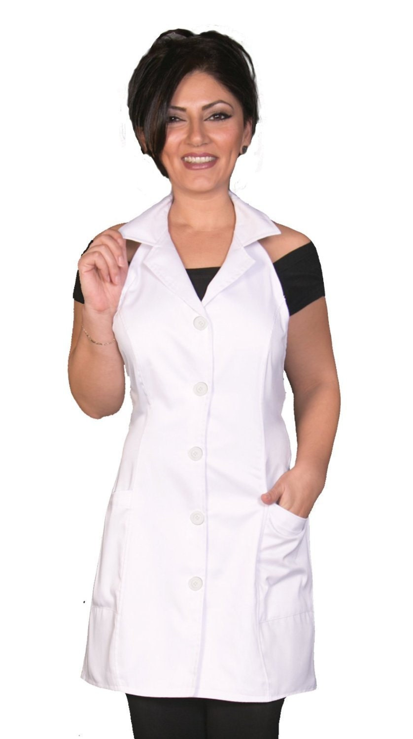 Esthetician jacket apron white fashion apron fitted apron for Spa uniform policy