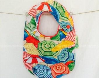 Beach Umbrella Baby Bib -  Handmade, 100% Cotton, Made in Australia, Newborn Bib, Toddler Bib, Dribble Bib, Funky Bib, Unique Bib