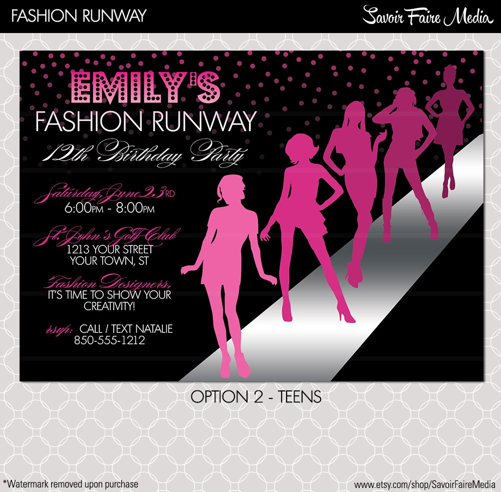 Fashion event invitation card images for Fashion show ticket template