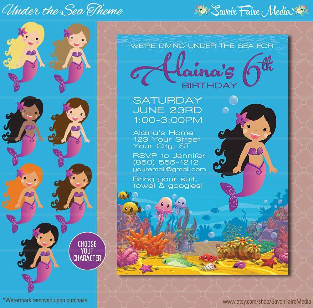 Under the Sea Birthday Invitation Mermaid Party Invitation – Ocean Party Invitations