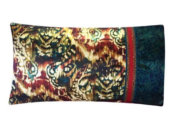 Satin Jewel Tone Pillowcase, Ikat Satin Pillow Case, Burgundy, Gold ...
