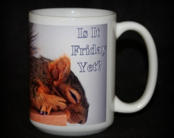 Is it Friday Yet? Tired Squirrel Mug! Angel is a non releasable rescue squirrel who loves to nap on a book shelf.