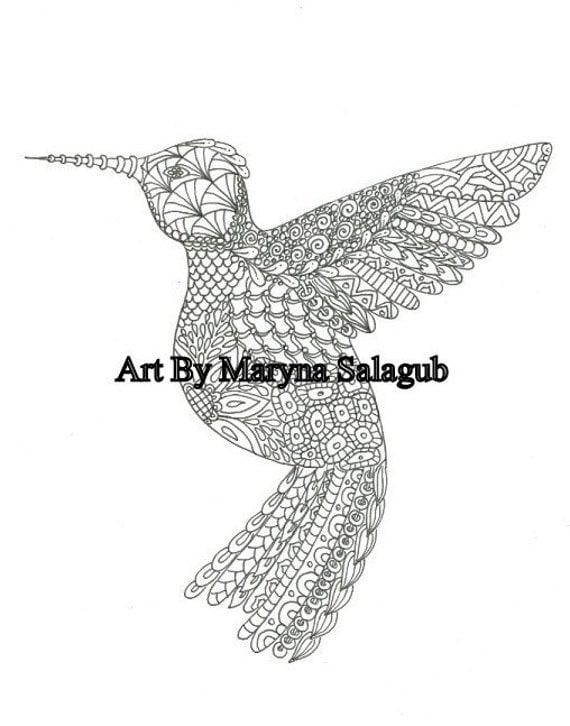 Coloring Page Zentangle Hummingbird Download Print Color Digital File Adult And Children Art Supply Bird Kids Craft Doodle