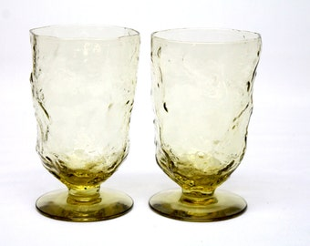 2 morgantown crinkle glass footed water goblet