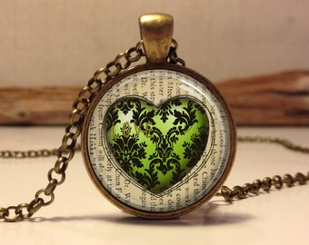 LOVE necklace, Green heart necklace. Love pendant for Valentine's Day.Heart necklace. Valentine gift for her (heart #3)