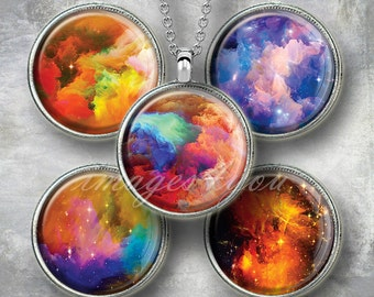 "Nebula abstract 1"" bottle cap images for pendants, 1 inch circles Digital Collage Sheet cabochon download printable round 30,25mm,1.25"",1.5"""