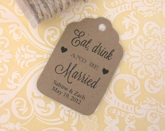 Eat drink and be married tags (30) - Wedding drink tags - Eat drink and be married labels - Wedding favor tag - Kraft tags