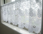 "White Lace Valance Cafe Curtain - 55"" Wide x 13"" Long -  French Country Style Shabby Chic Lace Curtain Panel"