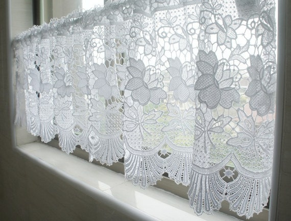 White Lace Valance Cafe Curtain 55 Wide X 13