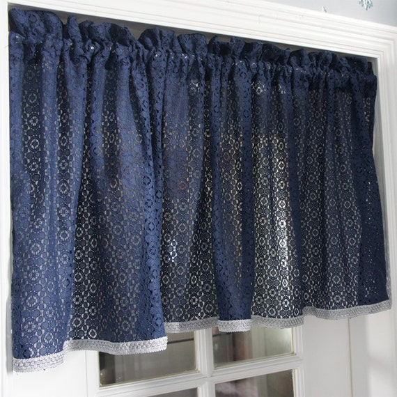 Shabby Chic French Country Style Embroidered Navy Blue Color