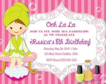 Ooh La La Spa Invitation - Girls Spa Birthday Invitation - DIY or Printed Invites by FabPartyPrints