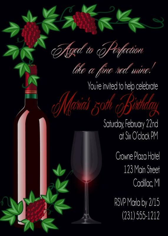 50th Grape Vine Adult Birthday Invitation Red Wine Adult Birthday