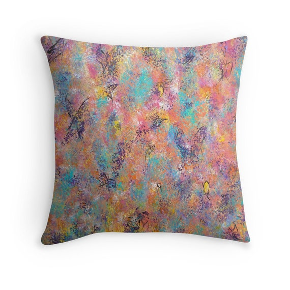Decorative Pillow Butterflies Abstract Pillow Toss by ArtbyKatsy