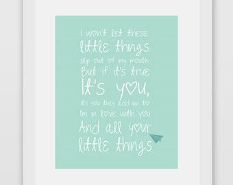 Little Things One Direction Lyrics Print #1 Minty Green