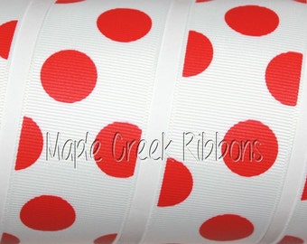 "1-1/2"" Red Party Dots Grosgrain Ribbon 1-1/2"" x 1 yard"