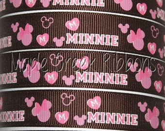 "5/8"" Brown and Pink Minnie Grosgrain Ribbon 5/8"" x 1 yard"