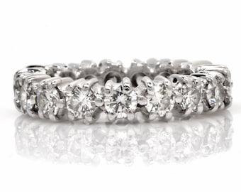 Estate 2.58 ct Diamond Platinum Eternity Band Ring