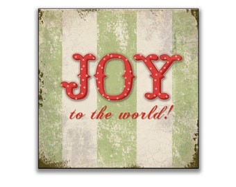 "Joy to the world! sign -  Approx. 12""x12""x1"" Christmas decor Christmas signs Holiday signs Holiday decor Christmas wall decor Christmas gift"