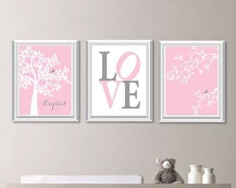 Baby Girl Nursery Art. Girl Nursery Decor.  Tree Nursery Art. Bird Nursery Art. Bird Nursery Decor. Monogram Nursery Art. Bird Bedroom N-726
