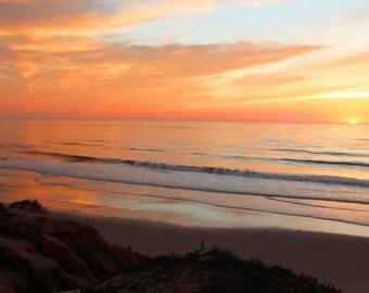 Golden Coast, Orange, Yellow, Sunset, South Ponto Beach, Carlsbad, California