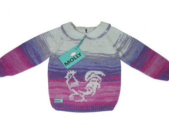 Blue, pink and grey sweater with cockerel hand made for 12-18 months old child, size 86, organic cotton