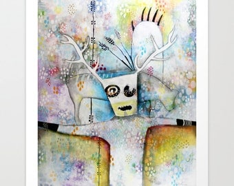 Colorful Shaman, Unique Contemporary Art Print, Alaskan Art