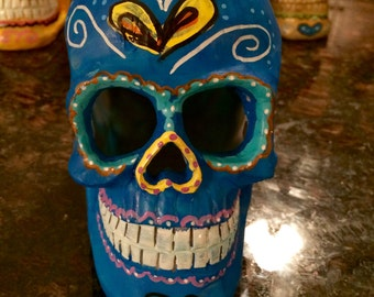 Blue Day of the Dead Mexican sugar skull