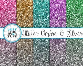 "Ombre Glitter Digital Paper ""Colorful"" Silver Glitter Background Digital Glitter Ombre Glitter Texture Ombre Digital Paper Clipart Sparkle"