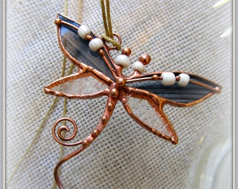 Stained glass pendant Dragonfly