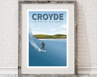 A3 retro travel Poster. Croyde, Devon, Surfing