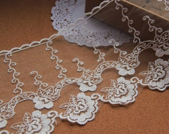 White Lace,Embroidery Lace,  Floral Lace,Tulle Gauze Lace Trims 5.5 Inches Wide 2 yards E8054