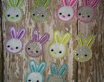 Set of 4 Girly Bunny Heads Faces Rabbit Easter Feltie Felt Embellishment Bow! Birthday Party Pink Yellow Blue Lavender Purple Planner Clip