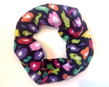 Multicolored Leopard Print Toddler Infinity Scarf Girls Colorful Tube Scarves for Babies Spring Kids Infinity Scarf Childrens Scarves