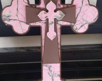 Pink camo layered cross