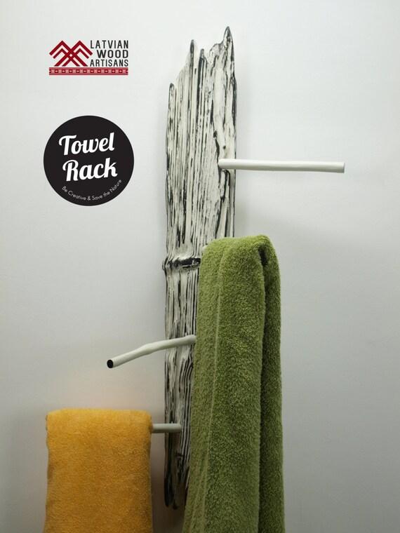 Porte serviette bois flott rack range serviettes en m tal for Porte serviettes en bois