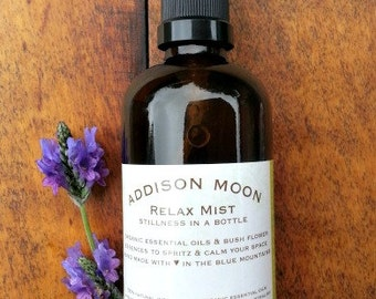 Aromatherapy Relax Mist. Lavender spray. Calming natural essential oils. Room, sleep & pillow mist. Stillness in a bottle