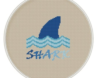 Shark Cross Stitch Pattern, Instant Download, Free shipping, Cross-Stitch PDF, Cross Stitch Animal, MCS026